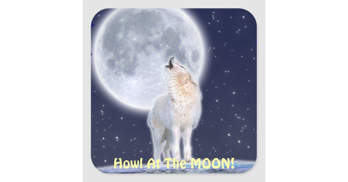 Howling ARCTIC WOLF & MOON Stickers | Zazzle