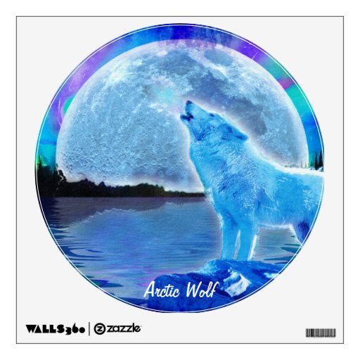 Howling Arctic Wolf & Moon Wildlife Wall Decal | Zazzle