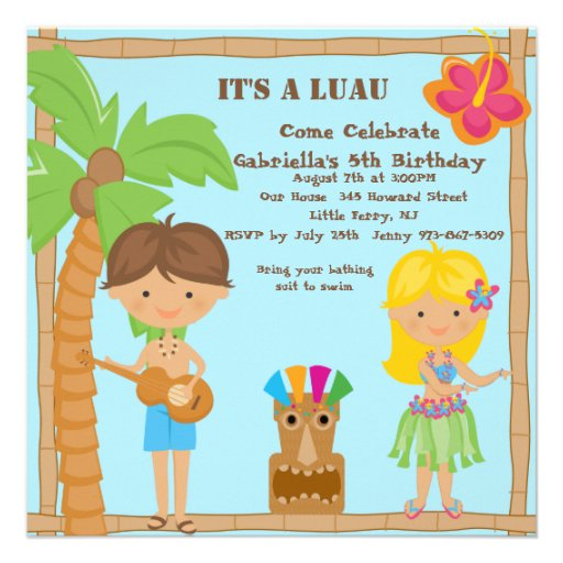 Hula Girl Boy Luau Square Birthday Invitation