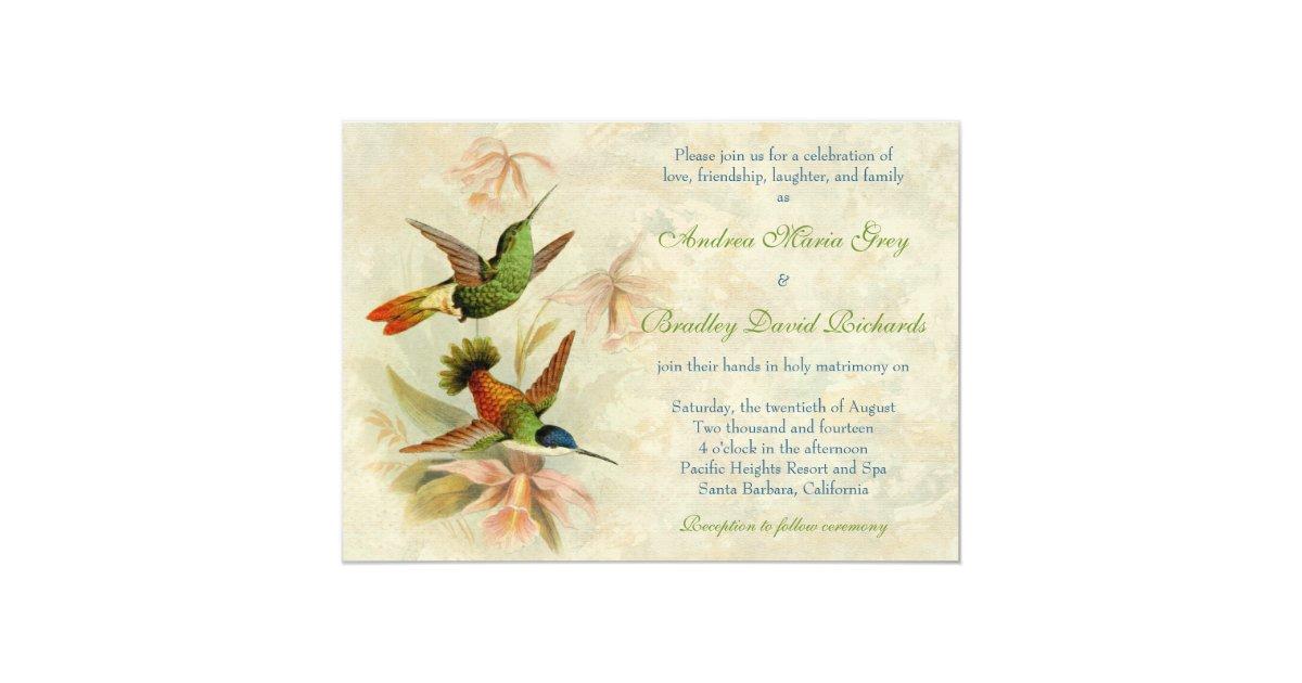 Hummingbird Wedding Invitations: Hummingbird Vintage Floral Wedding Invitation