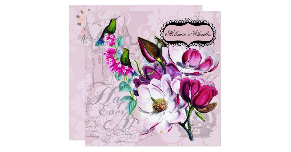 Hummingbird Wedding Invitations: Hummingbirds Magnolias Square Wedding Invitation