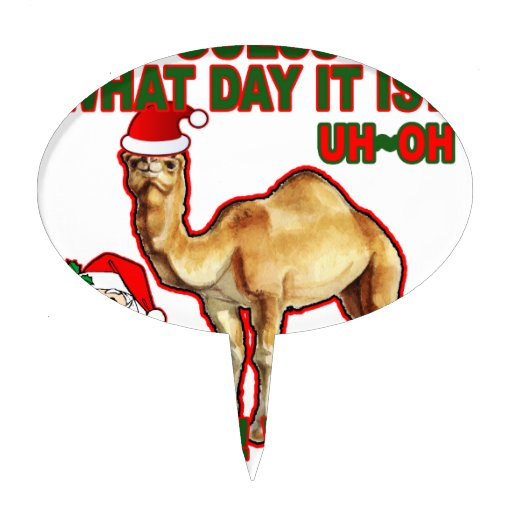 Hump Day Camel Santa Christmas T-shirt NJ.png Cake Topper