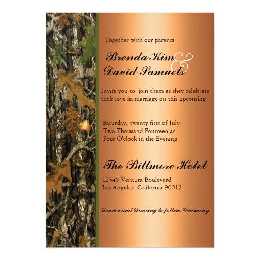 Camo Wedding Invitations To Make: Hunting Camo Leaves Wedding Invitation