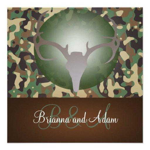 Hunting Camo Wedding Ideas: Hunting Theme Antlers And Camo Wedding Invitation 5.25