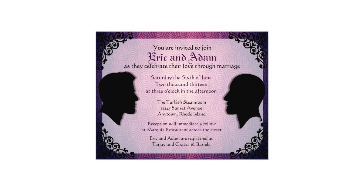 Gay Marriage Wedding Invitations: Husbands II Custom Gay Wedding Invitations