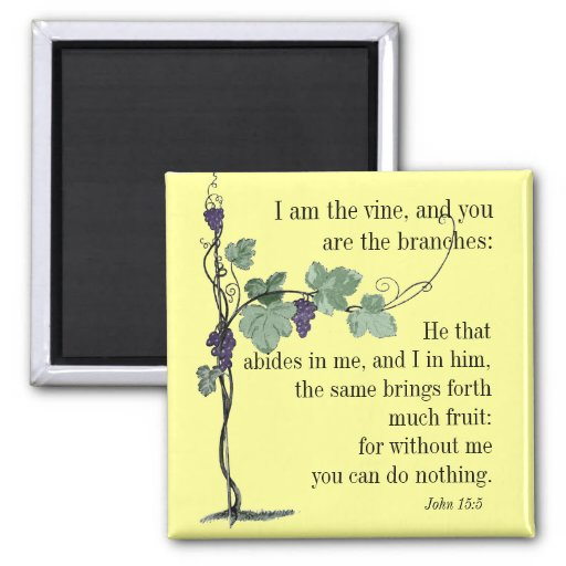 I Am The Vine John 15 5 Bible Verse Magnet Zazzle