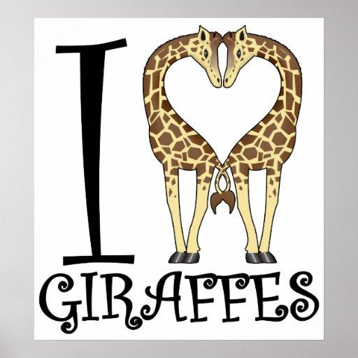 Aninimal Book: I Heart Giraffes Posters | Zazzle
