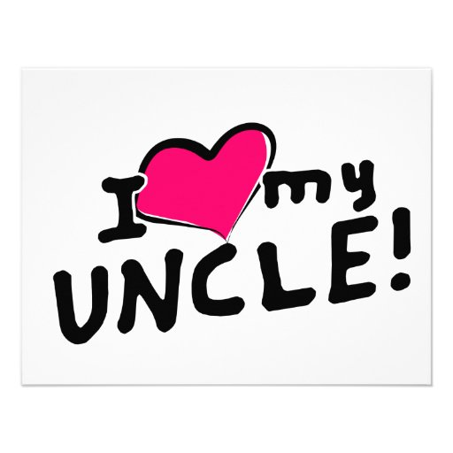 I Love Heart My Uncle 4 25x5 5 Paper Invitation Card