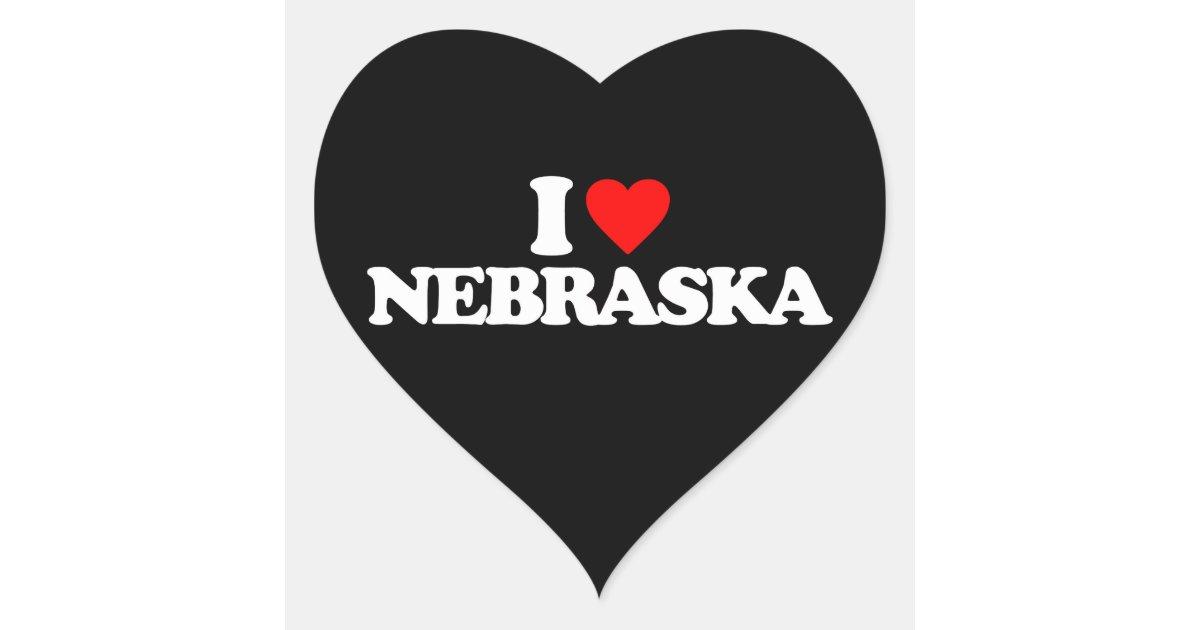I Love Nebraska Heart Sticker Zazzle