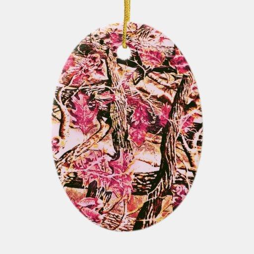 I Love Pink Camo Double-Sided Oval Ceramic Christmas