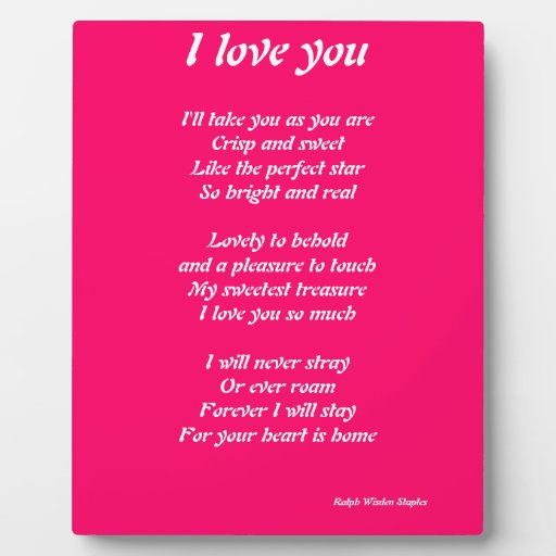 I Love You Poems: I Love You Poem Plauque Plaque