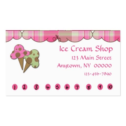 Ice Cream Punch Card Double Sided Standard Business Cards