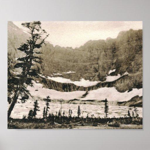 Vintage Park: Iceberg Lake, Glacier National Park Vintage Poster