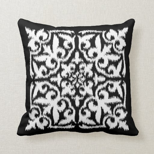 ikat damask pattern white and black throw pillow zazzle. Black Bedroom Furniture Sets. Home Design Ideas