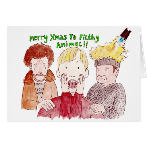 Illustrated 'home Alone' Christmas Card