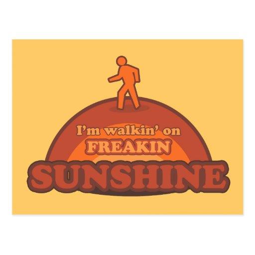 i 39 m walking on freakin sunshine frickin happy postcard. Black Bedroom Furniture Sets. Home Design Ideas