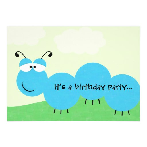 "Inch Worm It's A Party Birthday Party Invitation 5"" X 7"
