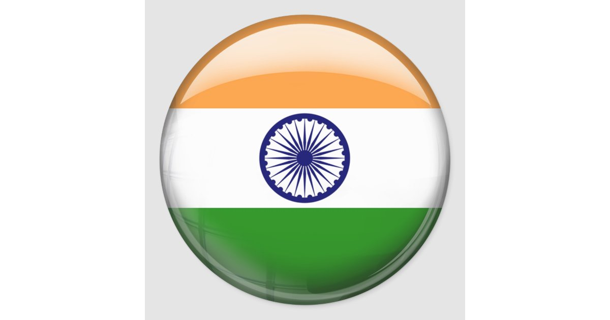 Indian Flag With Different Views: India Flag Classic Round Sticker