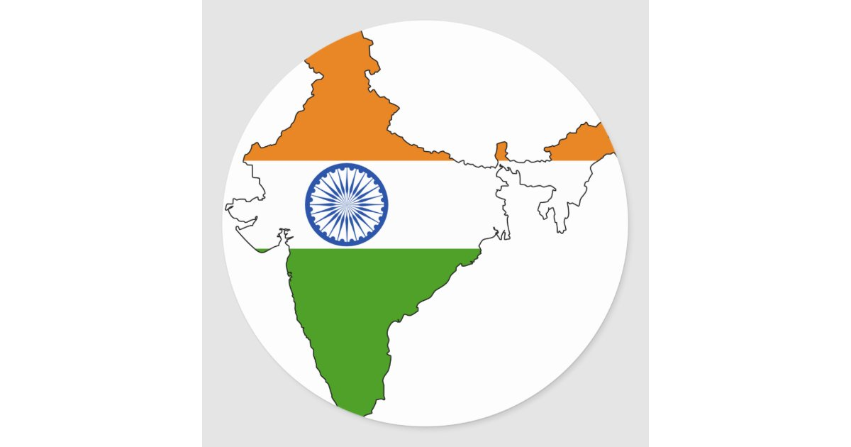 India Flag Map: India Flag Map Classic Round Sticker