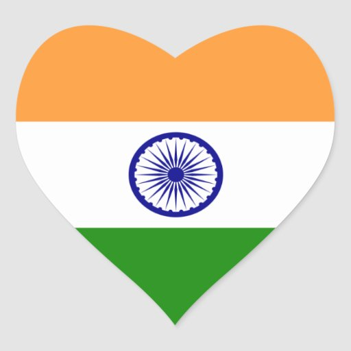 India/Indian Heart Flag Heart Sticker | Zazzle