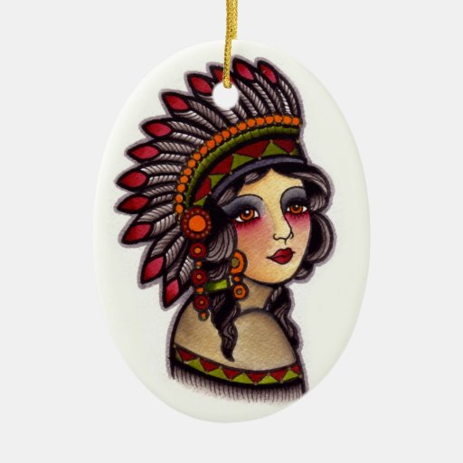 indian girl christmas ornaments | Zazzle