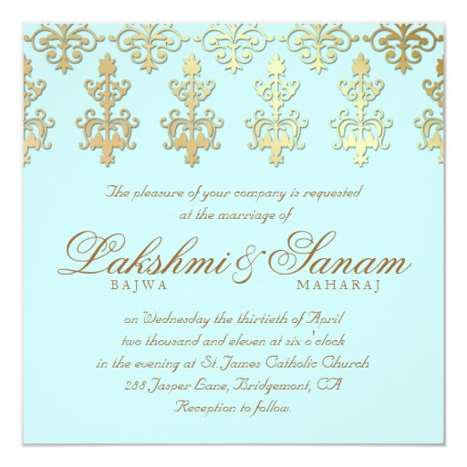Baby Blue Wedding Invitations: Indian Wedding Invite Damask Gold Baby Blue