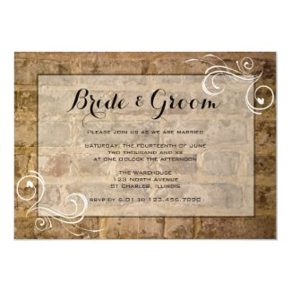 Industrial Chic Bricks with Swirls Wedding Card