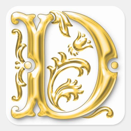 Initial D Capital Letter Sticker in Gold | Zazzle