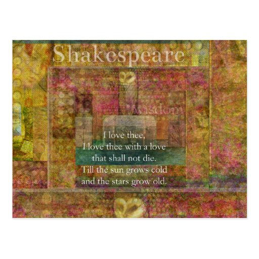 Shakespeare Quotes About Love: Inspirational Quote About Love By Shakespeare Postcard