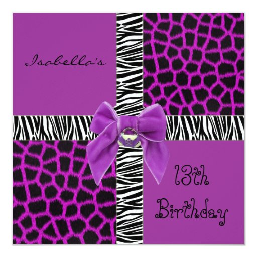 Invitation 13th Teen Birthday Wild Purple Animal