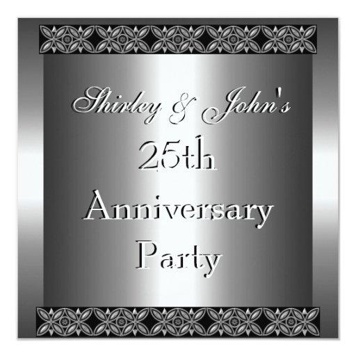 Wedding Anniversary Program Ideas: Invitation 25th Wedding Anniversary Party Silver Custom