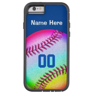 iPhone 6 Softball Cases Your NAME, NUMBER, COLORS Tough iPhone 6 Case