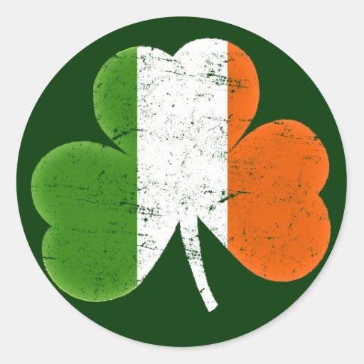 Ireland Flag Shamrock Classic Round Sticker | Zazzle