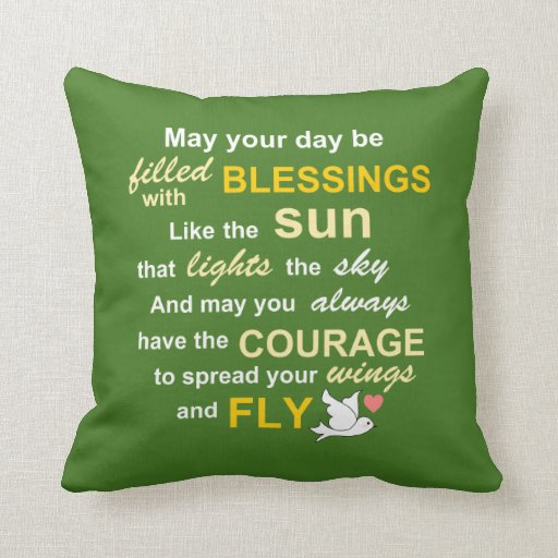 Irish Blessing for Courage - Typography in green Throw Pillows ... - Words And Quotes Pillow Designs