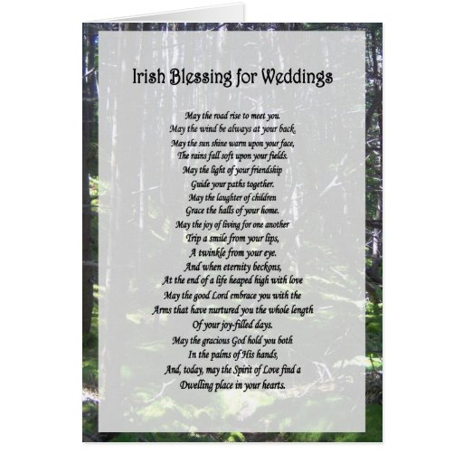 Irish Wedding Blessing Gifts: Irish Blessing For Weddings Card