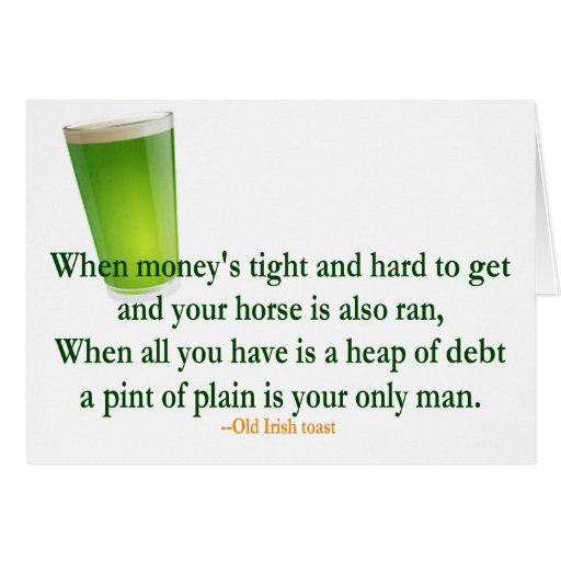 Irish Drinking Toast St. Patrick's Day Card | Zazzle