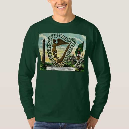 Irish Pride Ireland Emblems Golden Harp Clovers Long Sleeve T-Shirt