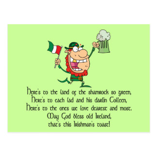 Irish Drinking Toast Postcards | Zazzle