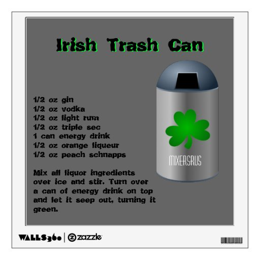 Irish Trash Can Drink Recipe Wall Sticker