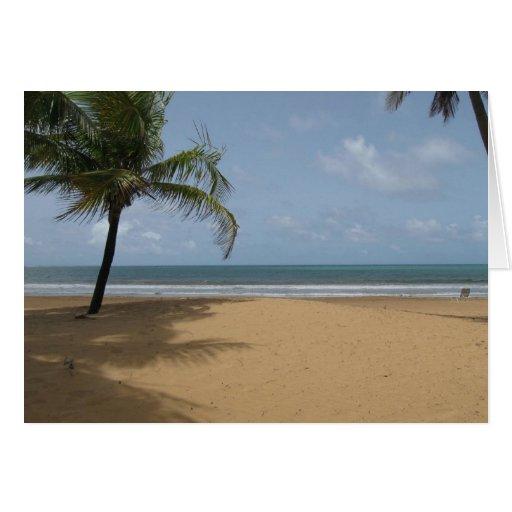 Island Beach Scenes: Island Paradise Beach Scene With Palm Trees Greeting Card