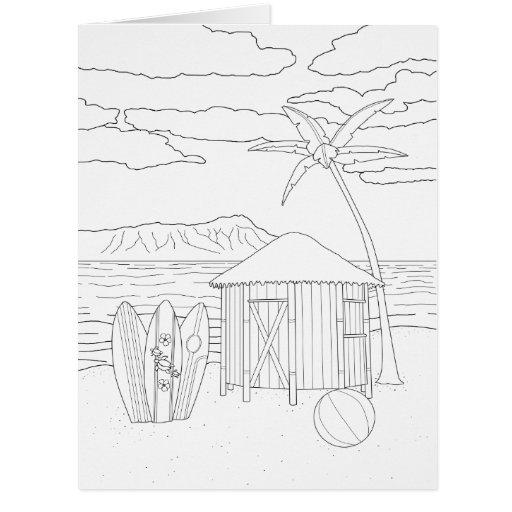 Inspiration Hut Grid Paper: Island Tiki Hut Adult Coloring Big Card