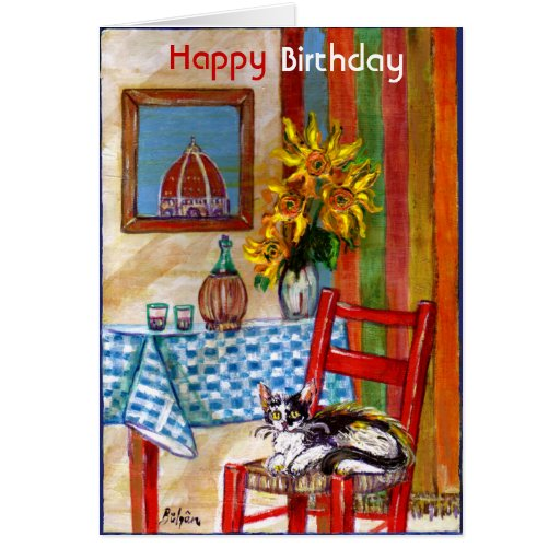 ITALIAN KITCHEN IN FLORENCE / Happy Birthday Cards