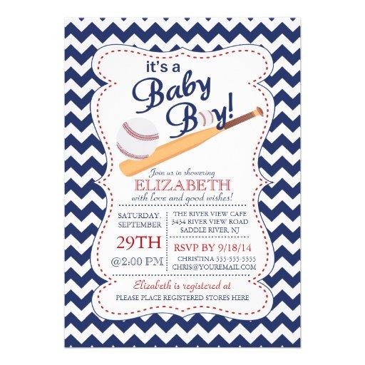 It's A Baby Boy Baseball Baby Shower 5x7 Paper Invitation