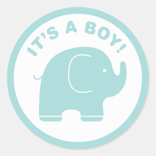 It's a Boy Baby Shower Cute Blue Elephant Sticker | Zazzle