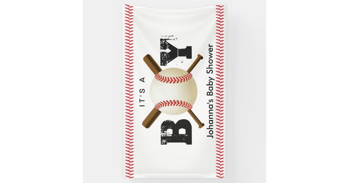 It S A Boy Baseball Stitching Sports Baby Shower Banner