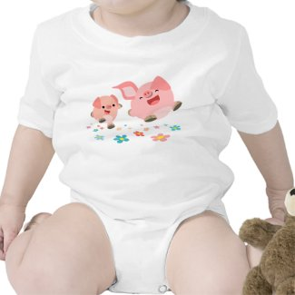 It's Spring!!-Two Cute Cartoon Pigs Baby shirt