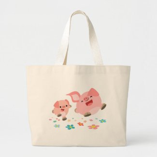 It's Spring!!-Two Cute Cartoon Pigs Bag bag