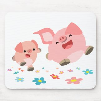 It's Spring!!-Two Cute Cartoon Pigs Mousepad mousepad