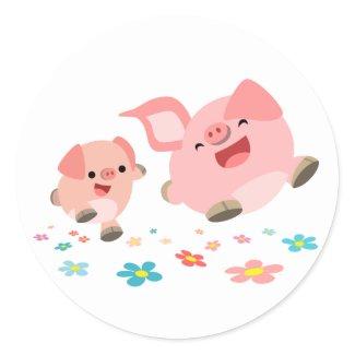 It's Spring!!-Two Cute Cartoon Pigs Sticker sticker