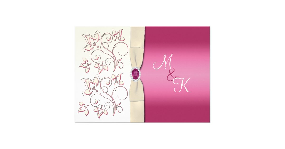 Ivory Wedding Invitation Kits: Ivory And Pink Monogrammed Wedding Invitation